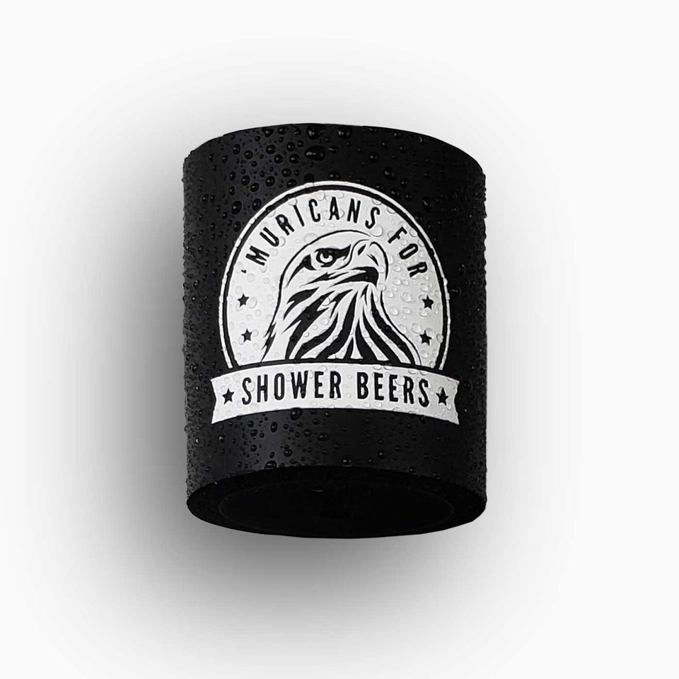 "Foam can beverage holder that sticks to shower wall via industrial velcro. This design is white ink printed on a black can holder with the words ""Muricans For Shower Beers"" written with artwork depicting a beautiful bald eagle.."