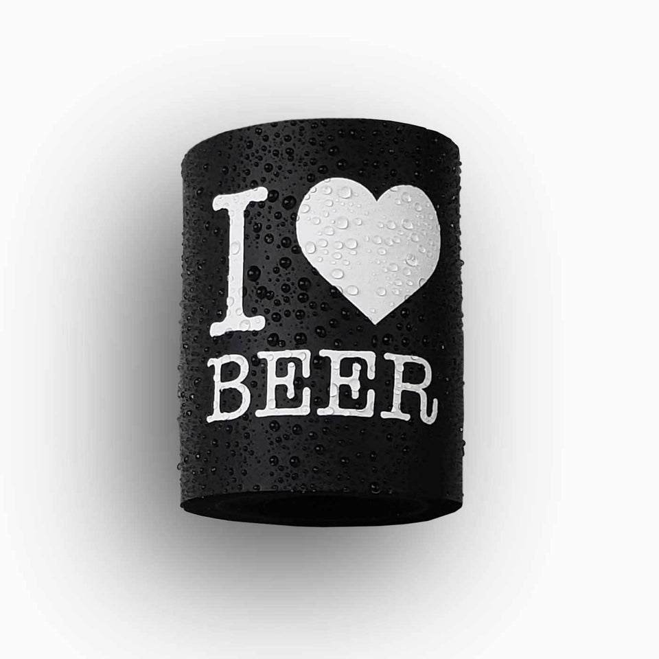 I Heart Beer design black foam can beverage holder with white ink that sticks to your shower wall via industrial velcro.