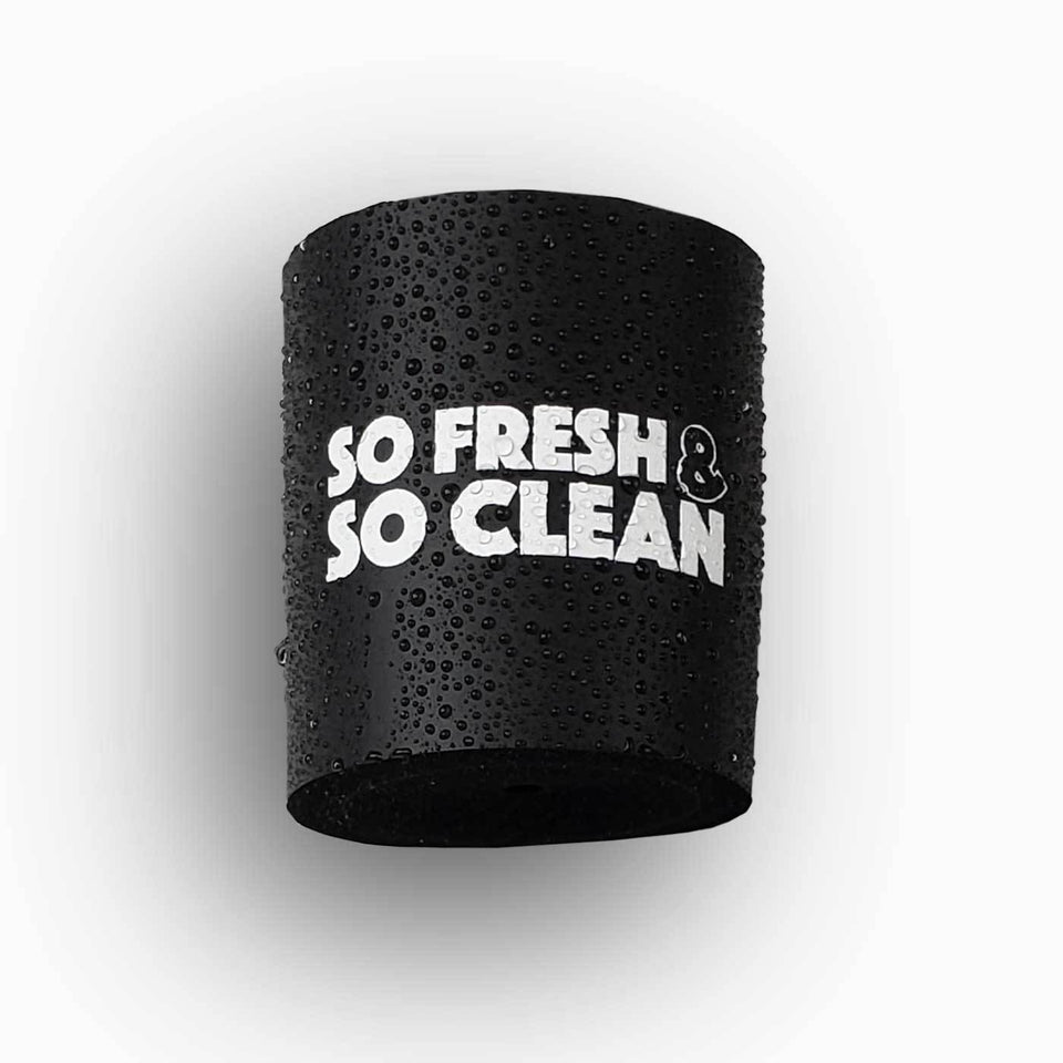 So Fresh and So Clean design black foam can beverage holder with white ink that sticks to your shower wall via industrial velcro.
