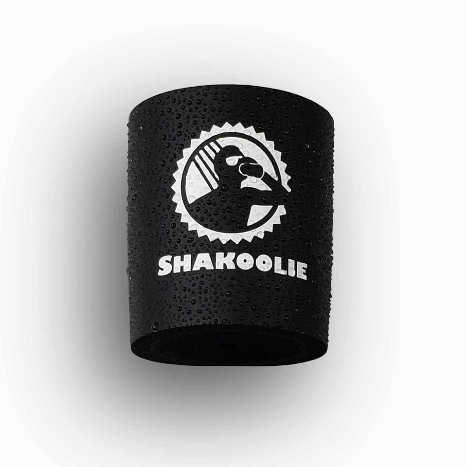 Shakoolie logo design black foam can beverage holder with white ink that sticks to your shower wall via industrial velcro.