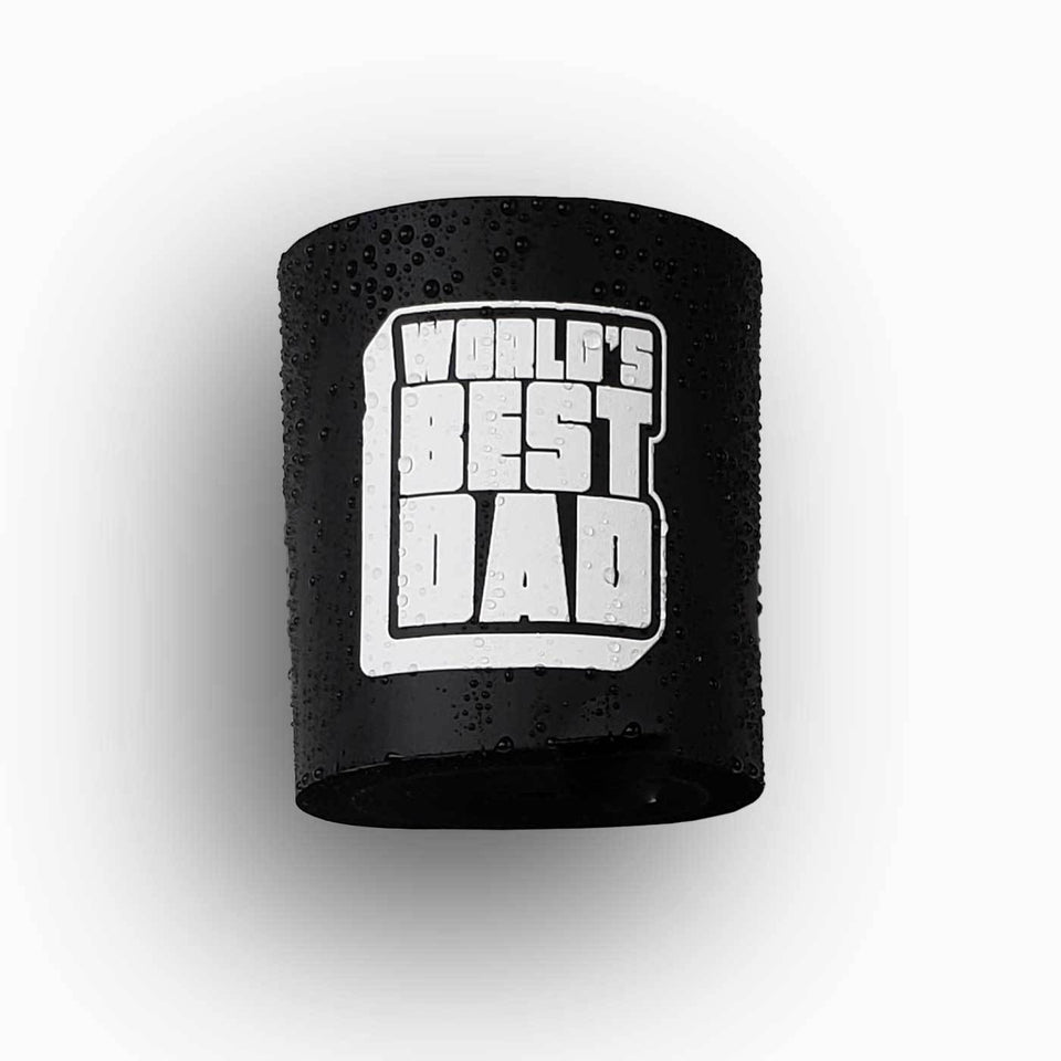 Worlds Best Dad design black foam can beverage holder with white ink that sticks to your shower wall via industrial velcro.