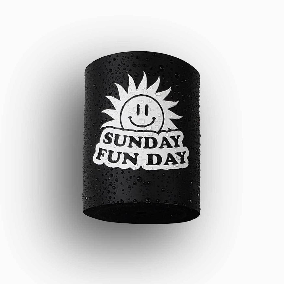 Sunday Funday design black foam can beverage holder with white ink that sticks to your shower wall via industrial velcro.