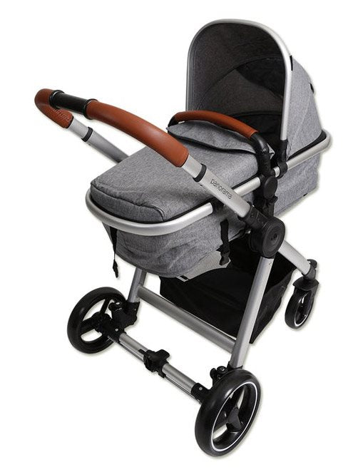 Babylo Panorama Premium  2 in 1 Travel System with Car seat Grey Herringbone & Tan Handle