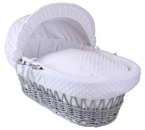 Clair de Lune Grey wicker Moses Basket white dimples - Click & Collect Only