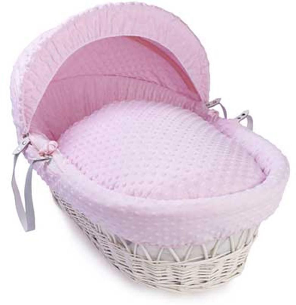 Clair de Lune White wicker Moses Basket Pink dimples - Click & Collect Only