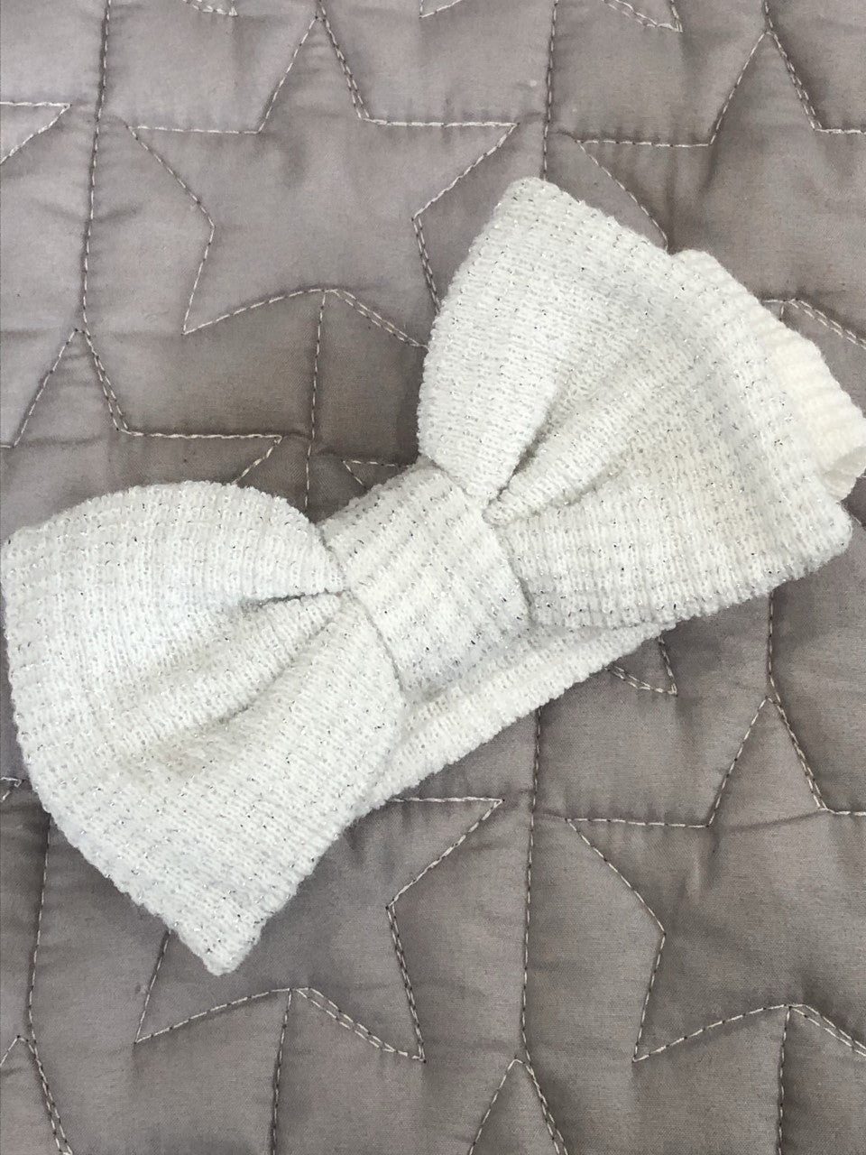 Large Waffle Bow Headband White/Silver Speckle