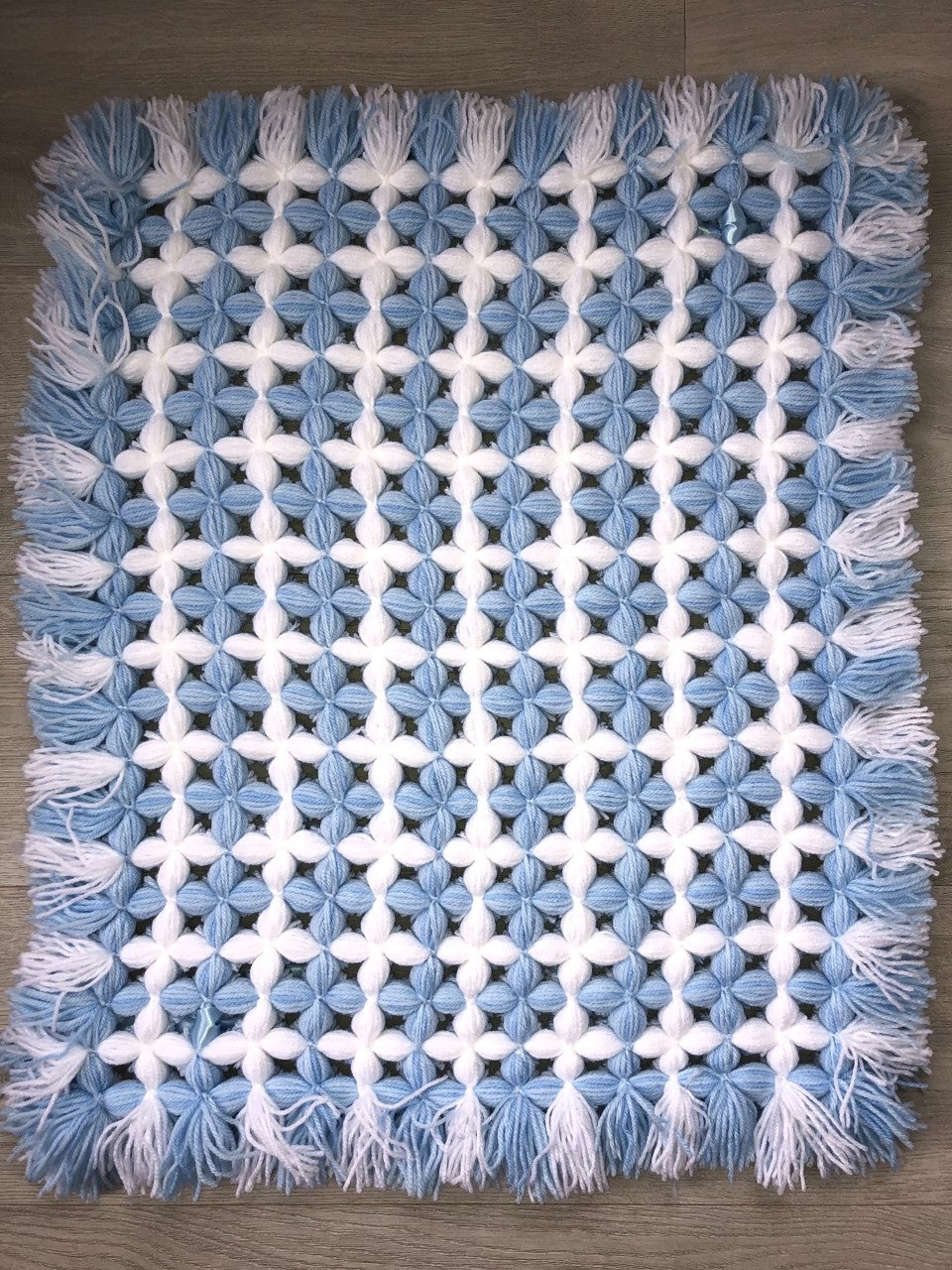 Hand Knitted Pram Blanket Blue/White