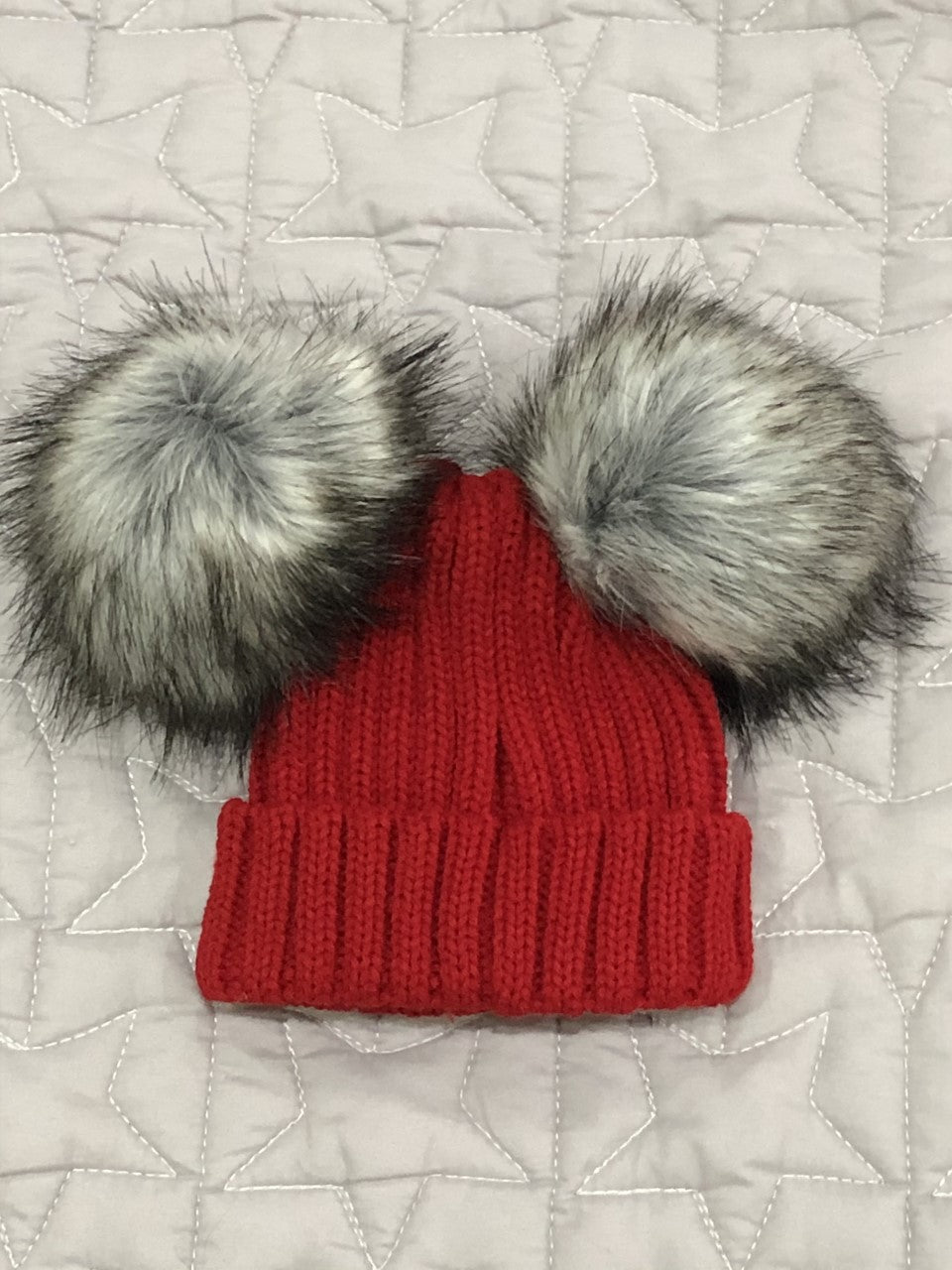 Double pom Faux Fur Hat Red/Grey 1- 2 Years