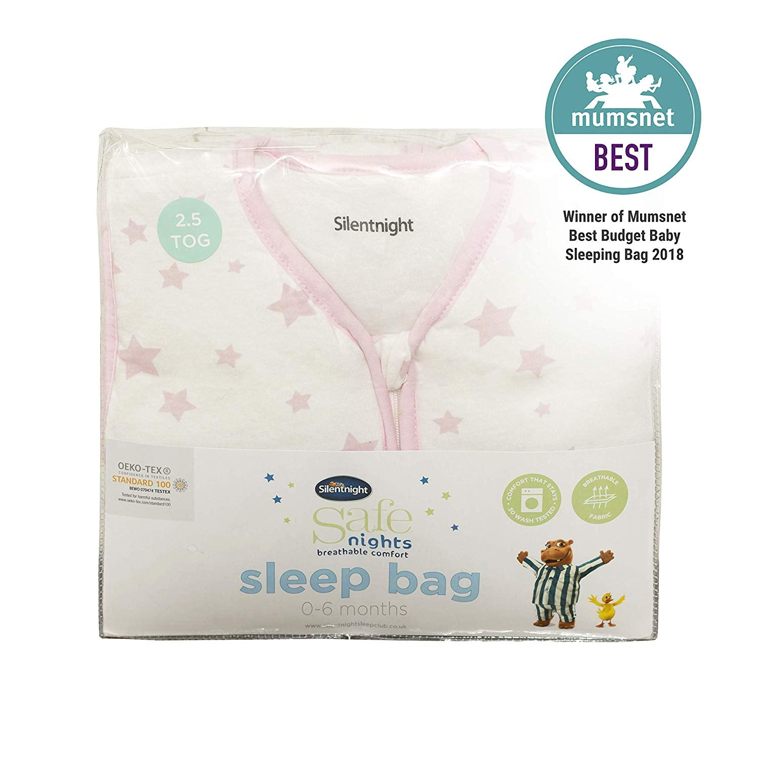 Silent Night Sleeping Bag Pink Stars 6-18 Months