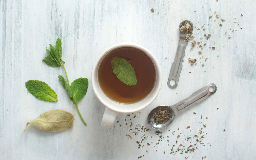 Fresh mint and dried mullein tea with measuring spoons