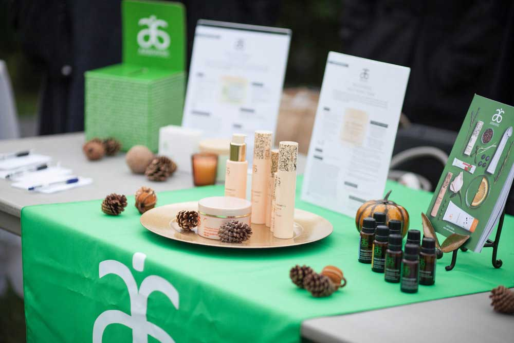Arbonne booth at Hempsley education event in Columbia, MO