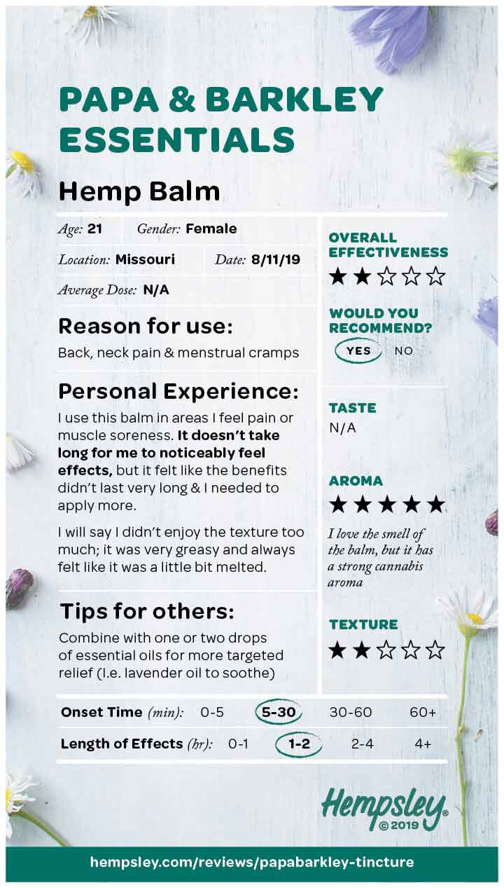 Review of Papa and Barkley's CBD Releaf Balm