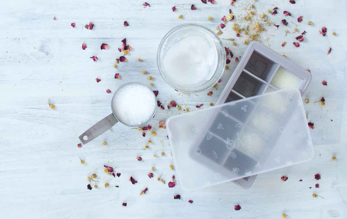 Cannabis, rose and chamomile body scrub bars ingredients for making at home