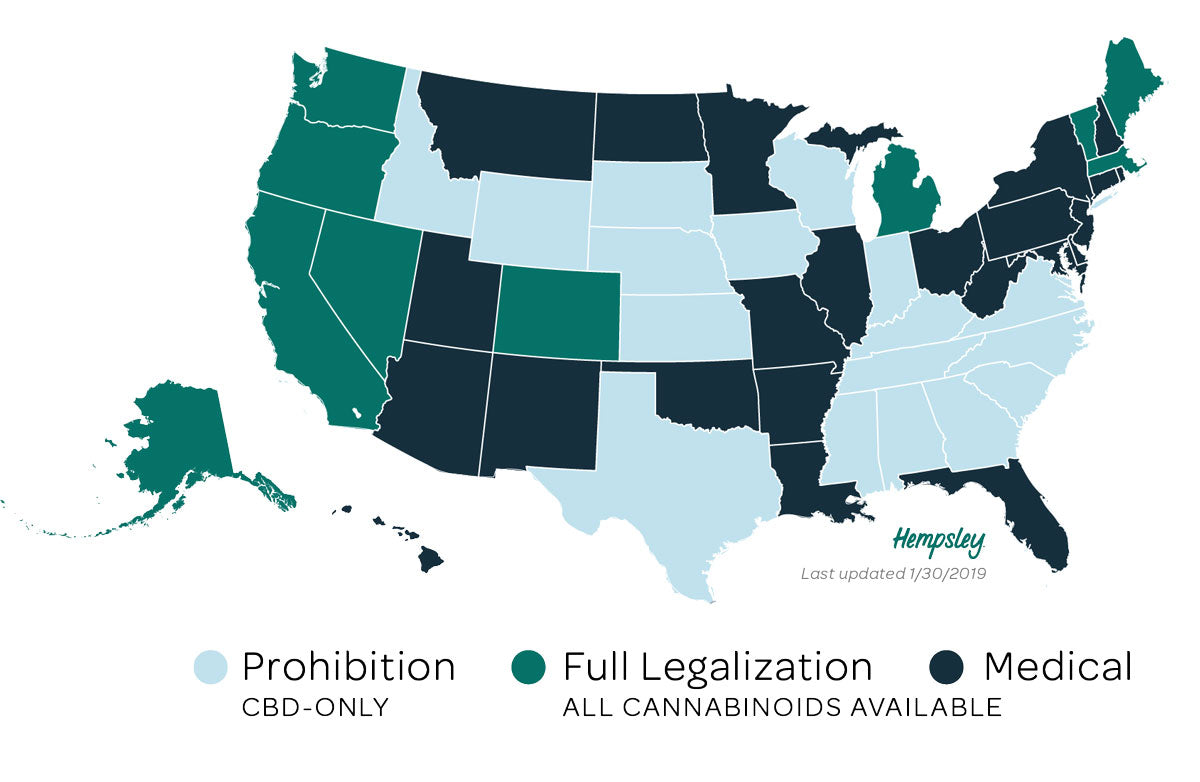 Map of cannabis legalization in the United States