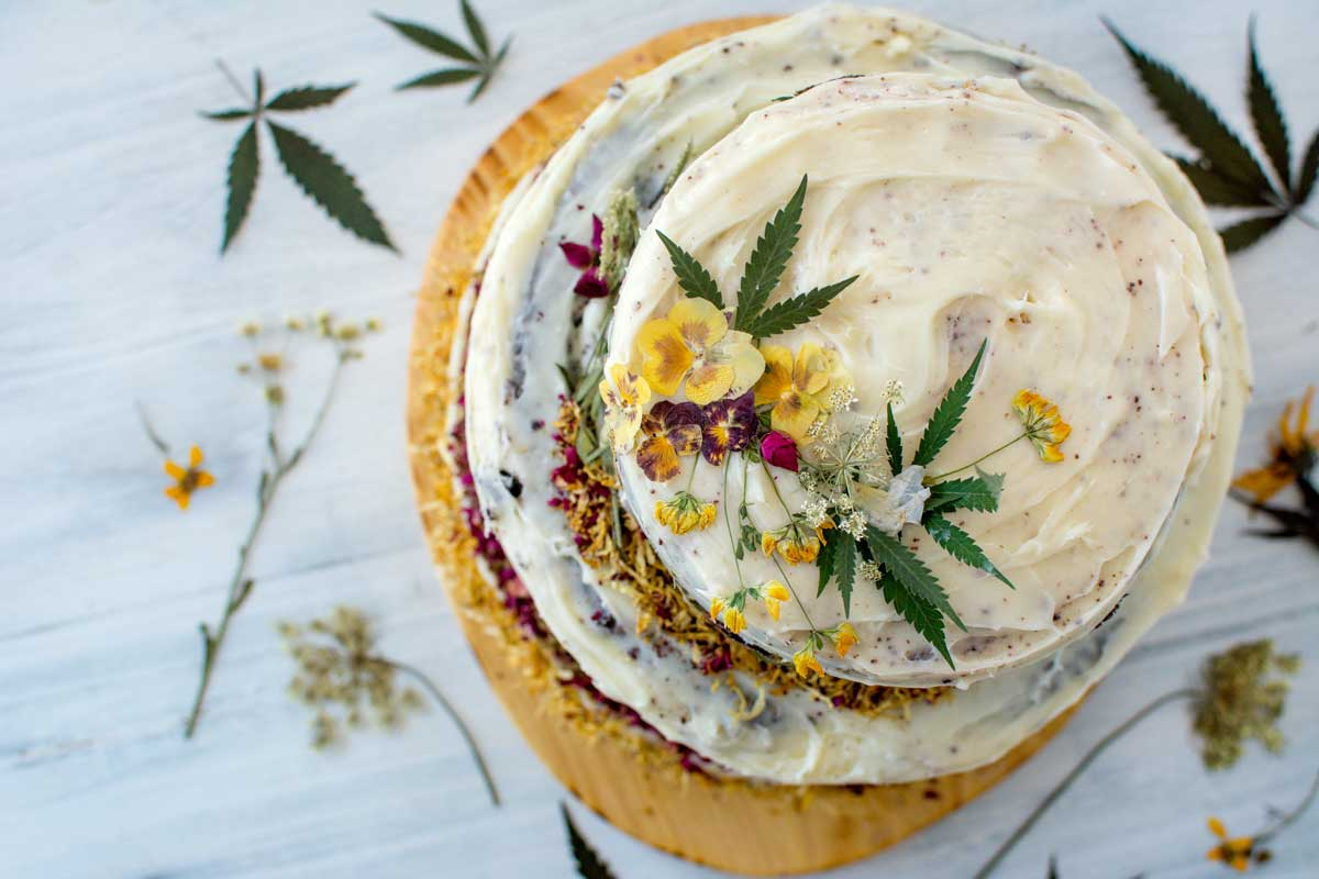 CBD birthday cake for Hempsley decorated with cannabis leaves