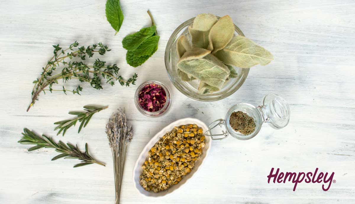 Dried herbs such as rose, thyme, rosemary, mullein, chamomile, lavender