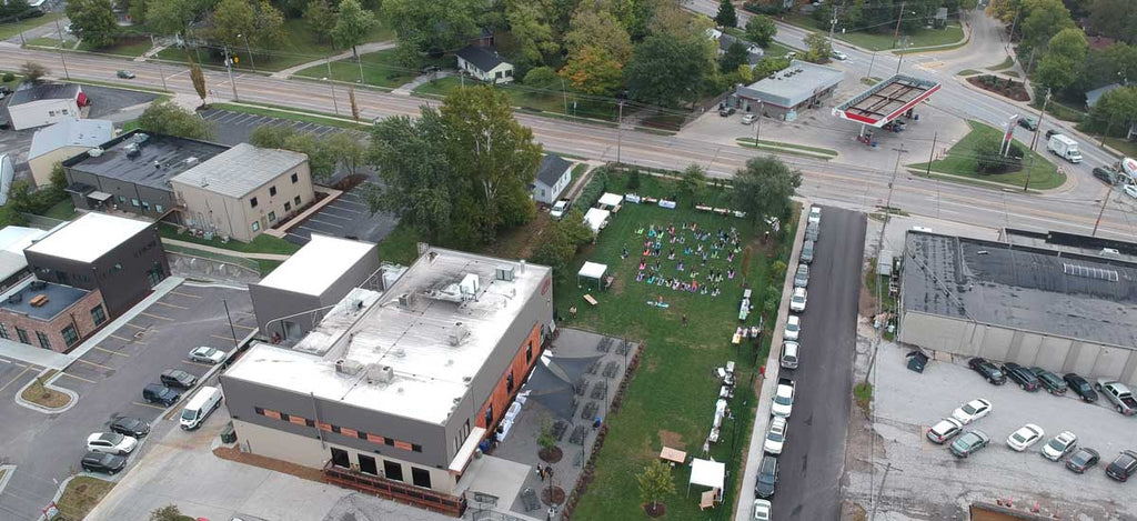 Drone view of Logboat Brewing Company in Columbia, Missouri