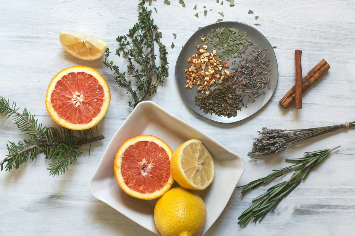 Herbs such as lemon, orange, lavender, pine, thyme, rosemary that have terpenes also commonly found in cannabis