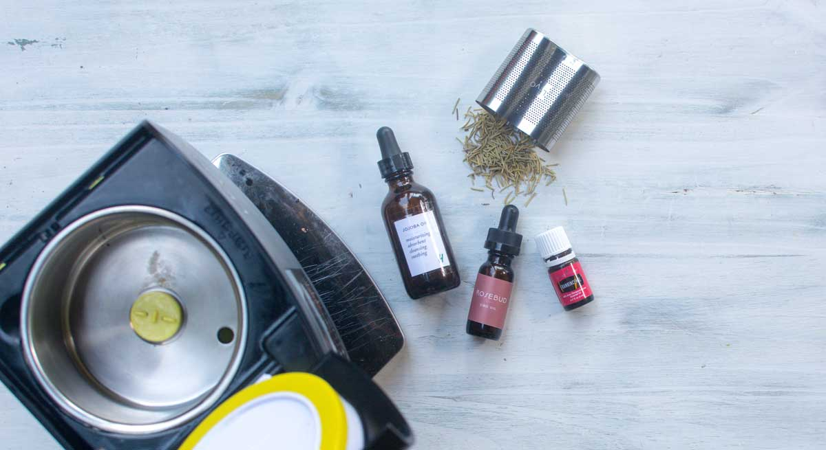 Ingredients for making your own cannabis infused face or beard oil at home in the LEVO oil infusion machine