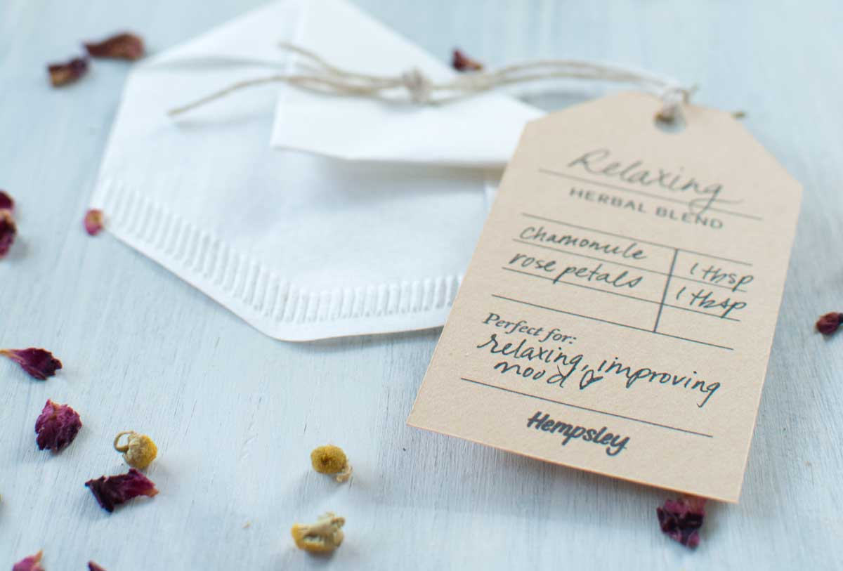 DIY tea bag made from coffee filter with printable tag