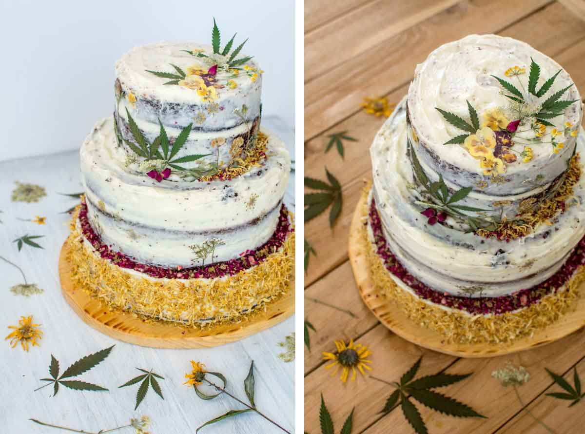 CBD Birthday cake decorated with cannabis leaves for Hempsley's 2nd
