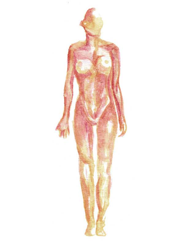 Watercolor illustration of a female body