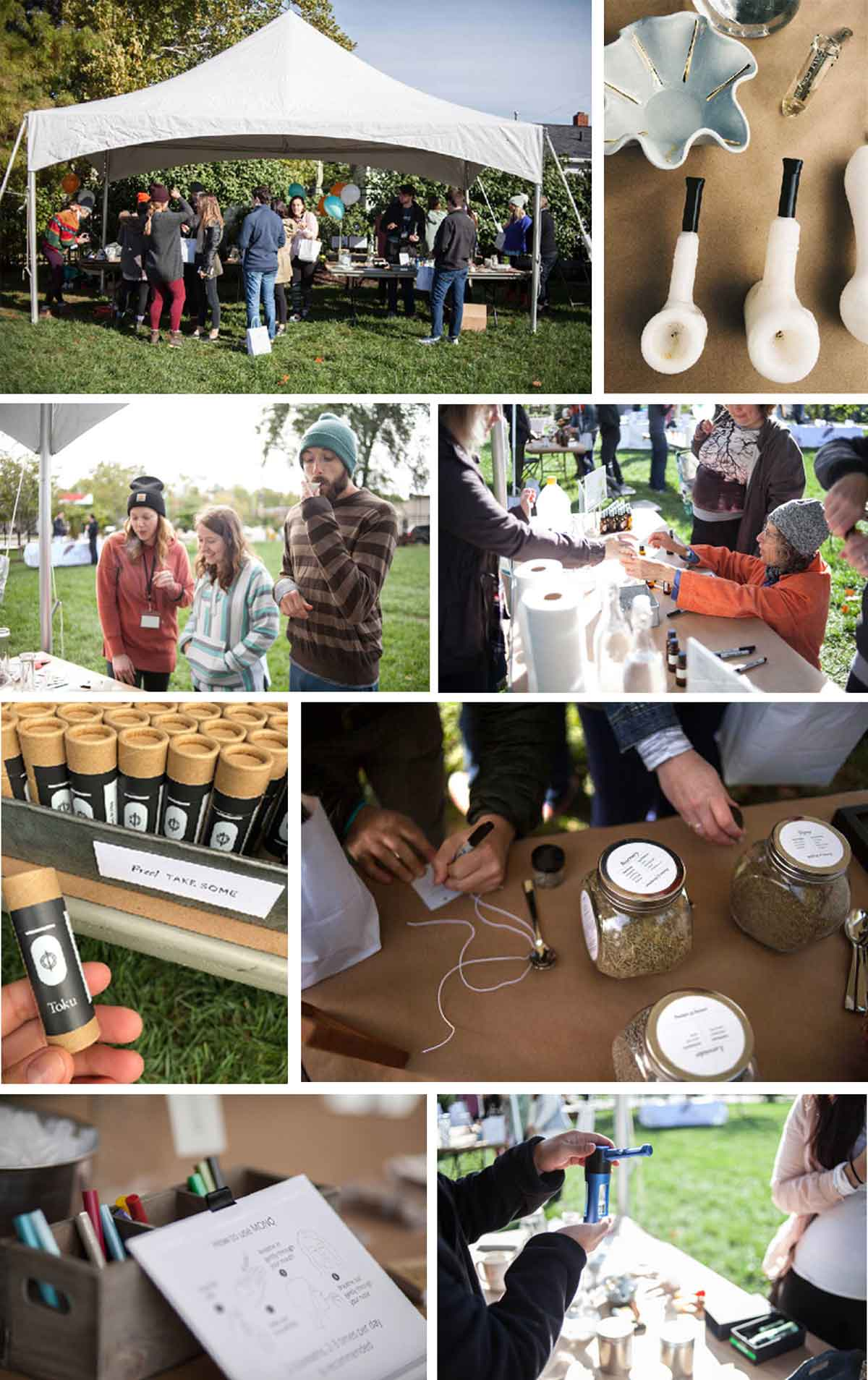 Inhalation station to try different herbal smoking blends in bongs, vaporizers, and more