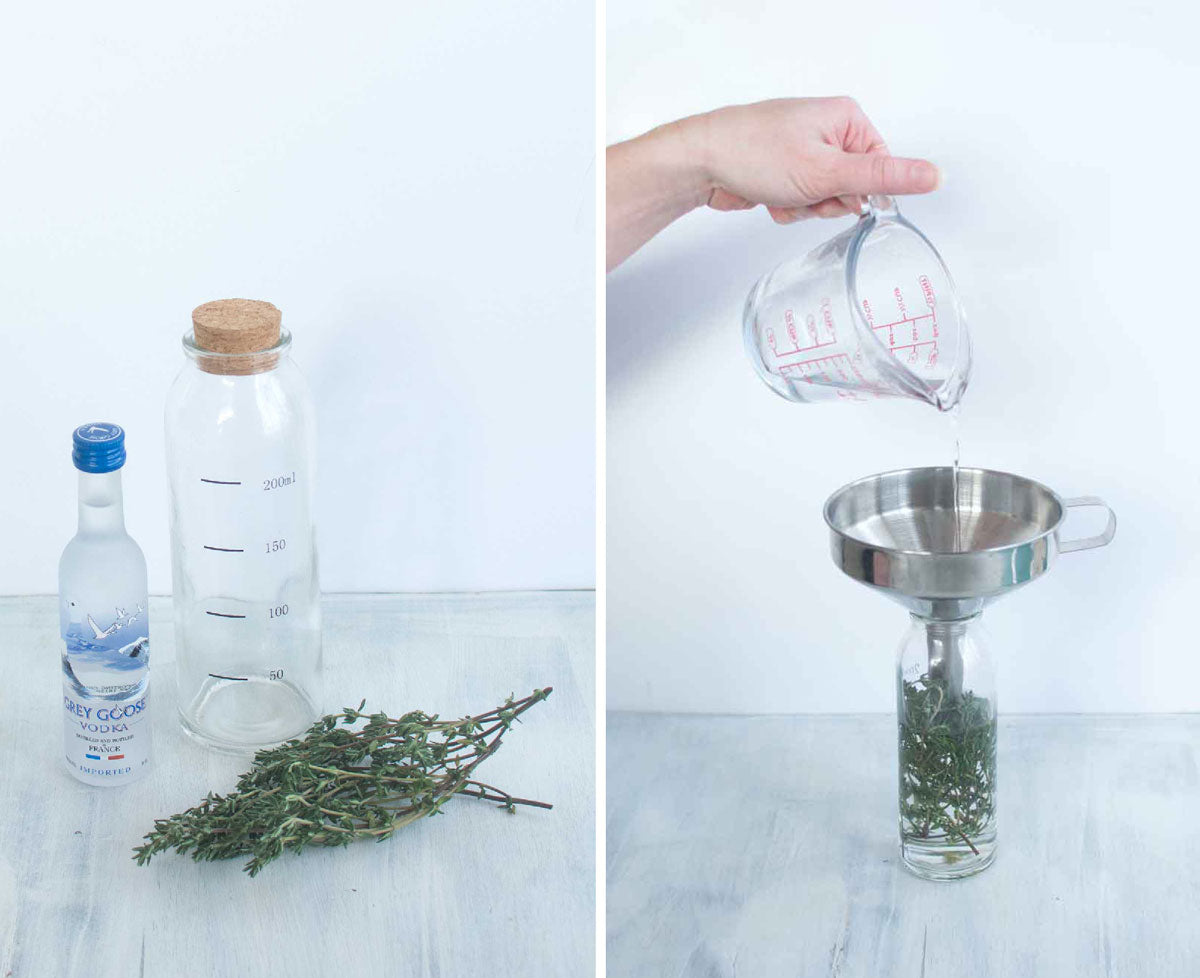 Woman pouring alcohol into jar with herbs for making tincture at home
