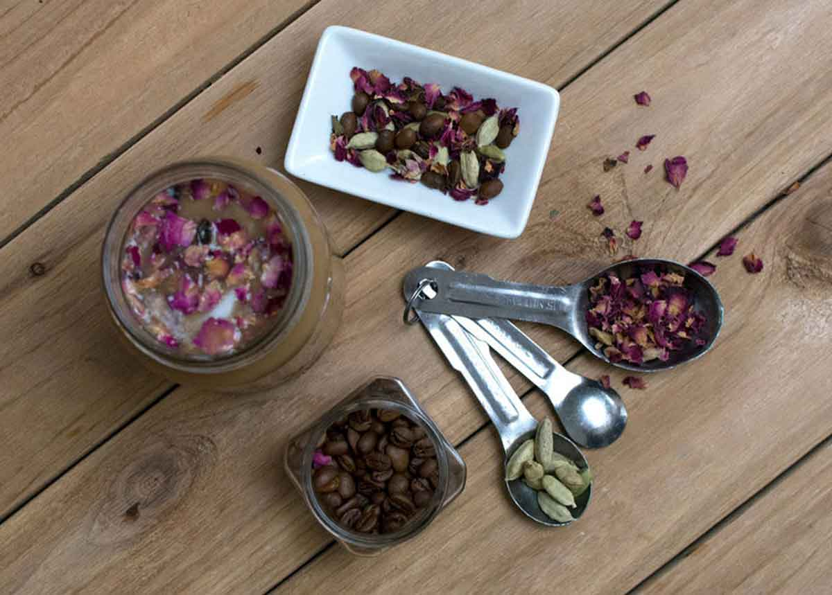 Ingredients for iced rose and cardamom latte