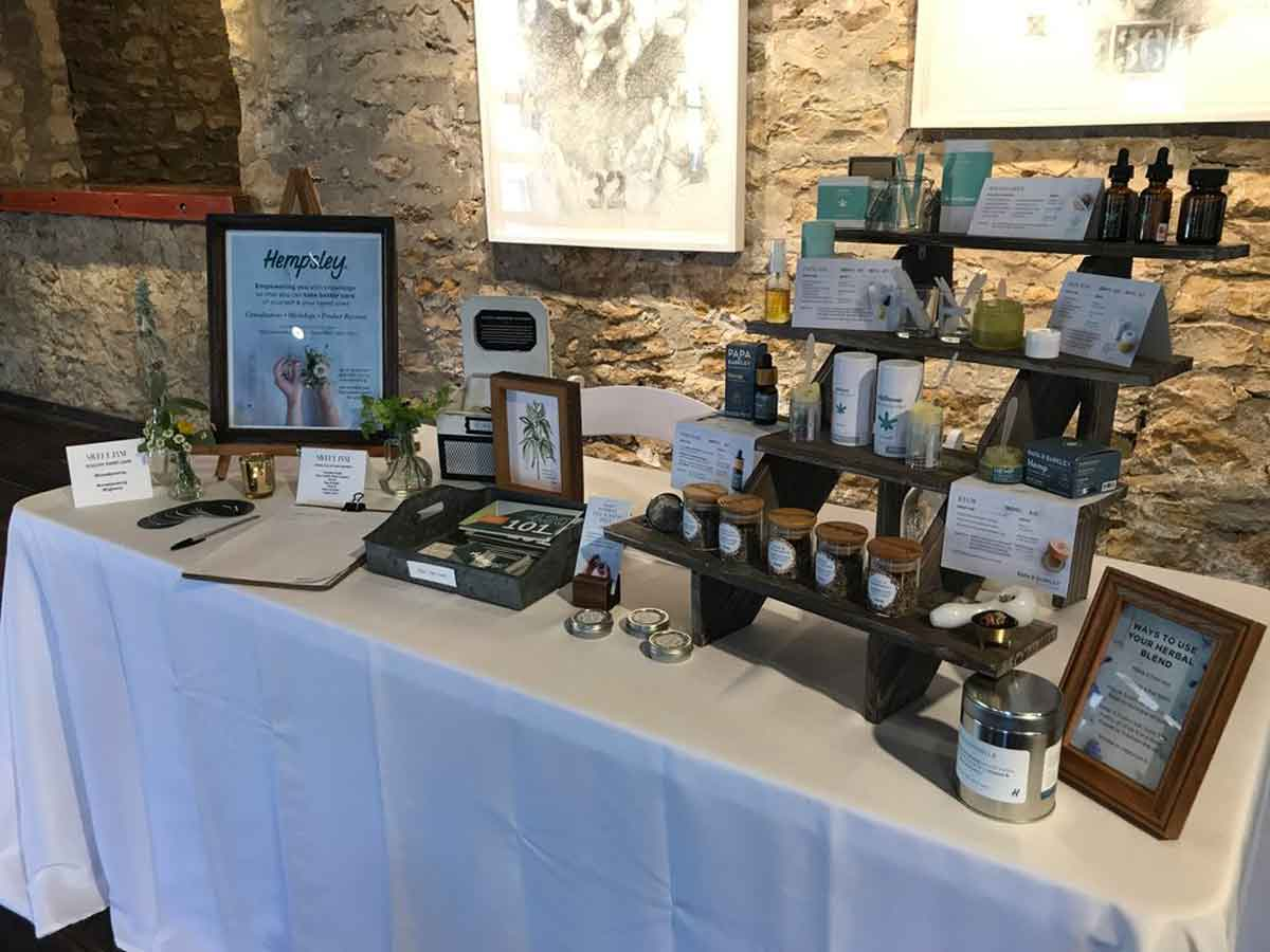 Hempsley display at Sweet Jane Cannabis Magazine launch party in Lawrence, Kansas