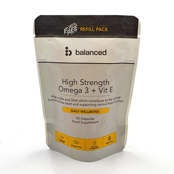 High Strength Omega 3 + Vitamin E<br> 50 Gel Caps - Refill Pouch