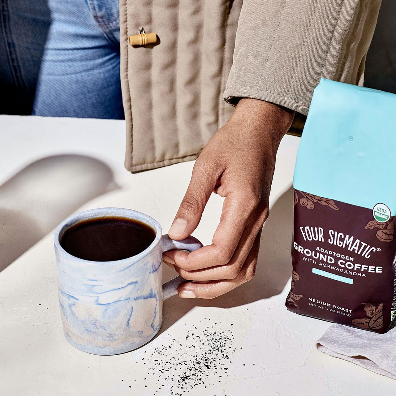Cup of Four Sigmatic Adaptogen coffee