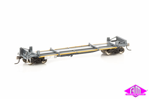 RKKY 7350-A 3 Platform Steel Wagon National Rail Grey / Marigold Pack 7