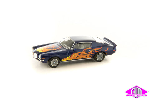 Chevrolet Camaro Z28 1972 Blue With Flames 1/87 Scale