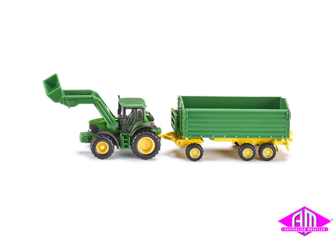 John Deere front end loader with trailer 1:87