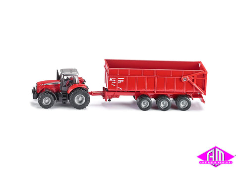 Massey Ferguson tractor with trailer 1:87