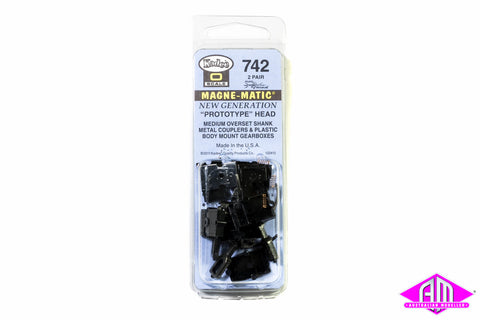 KD-742 #742 O Scale Medium Overset Shank Metal Coupler with Plastic Draft Gear Box - Black (2pr)