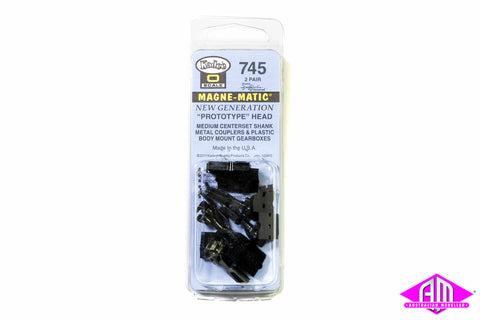 KD-745 #745 O Scale Medium Centerset Shank Metal Coupler with Plastic Draft Gear Box - Black (2pr)