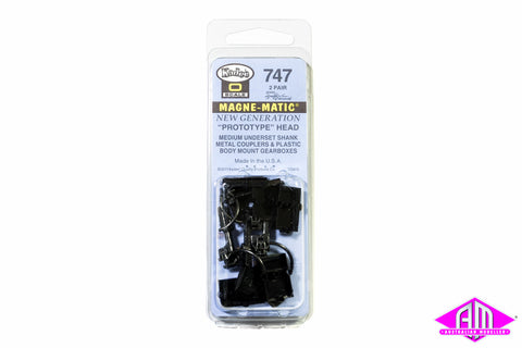 KD-747 #747 O Scale Medium Underset Shank Metal Coupler with Plastic Draft Gear Box - Black (2pr)