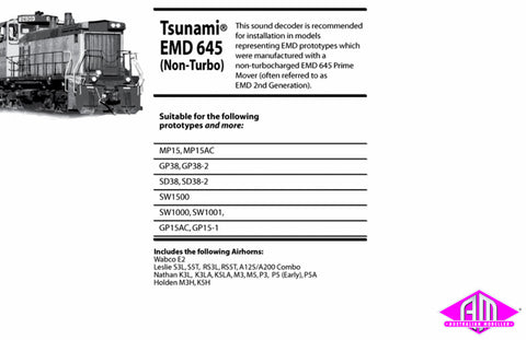 Tsunami TSU-1000 EMD 645 Non Turbo Sound Decoder 827109
