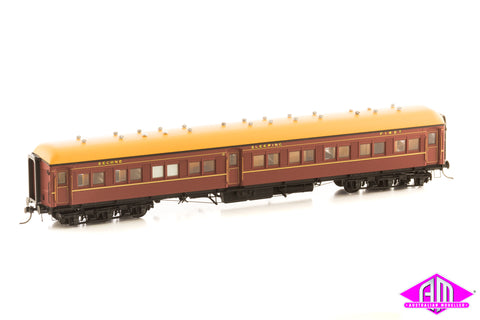 12 Wheel Passenger Car, Composite Sleeper Car ACS 922 Indian Red