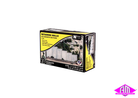 Retaining Wall Concrete - N Scale (6pc)