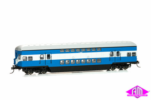 CH-TUL-3A Tulloch Double Deck Trailers T4907 & T4916 Blue-Mid High White (Twin Pack)