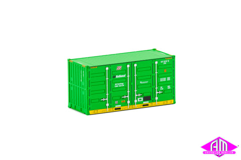 20' Side Door Container QR National green, yellow base Twin Pack CON-109