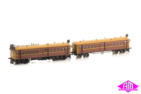 CPH/CTH Rail Motor and Trailer set - Masonite, Indian Red, CPH11 CTH 53 with Sound