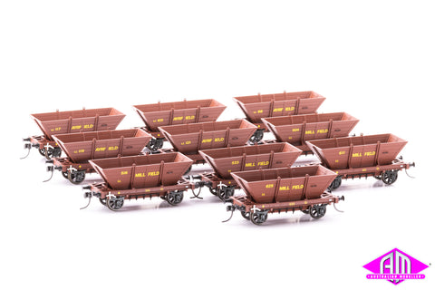 4 WHEEL 'LL' STEEL FRAME COAL HOPPERS, Ayrfield & Millfield 10 pack LL03