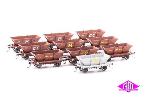4 WHEEL 'LL' STEEL FRAME COAL HOPPERS, Mixed 10 pack LL06