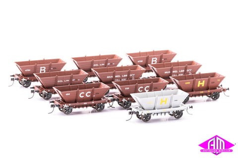 4 WHEEL 'LL' STEEL FRAME COAL HOPPERS, Mixed 10 pack LL07