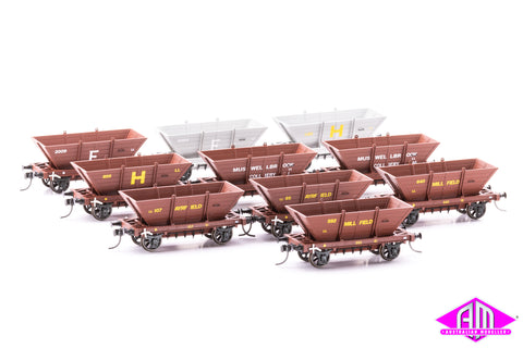 4 WHEEL 'LL' STEEL FRAME COAL HOPPERS, Mixed 10 pack LL08