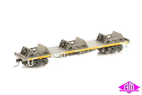 RCQF Coil Steel Wagon with 3 x Cradles, Pacific National Grime & Yellow, 4 Car Pk NSW-11